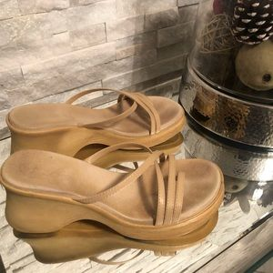 Aldo Comfortable Nude Wedge Sandals (Size 10)